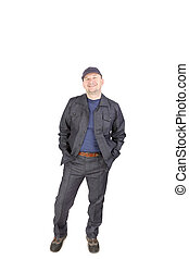Smiling worker in work wear. Isolated on a white background.