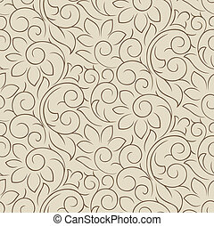 Seamless fancy floral wallpaper - Seamless fancy vector...