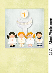 children's and chalice  first communion invitation card, Backgrou