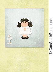 brown girl  first communion invitation card