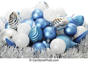 Frost-Colored Christmas Bulbs - Close-up image of silver,...