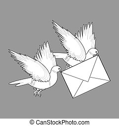 A sketch of two flying doves with a letter
