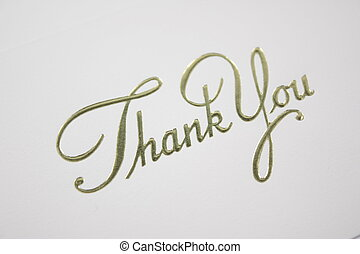 Thank You - Thank you written in cursive on a card cover