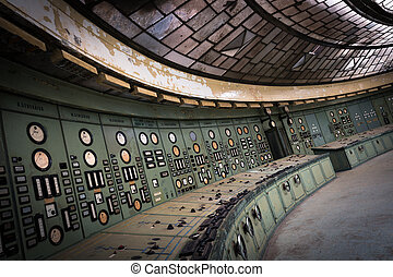 control room in an abandoned power plant