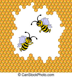 Two funny cartoon bees surrounded by honeycombs