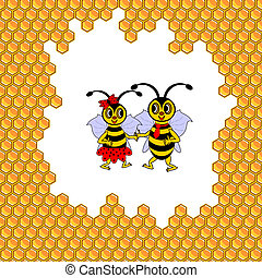 A couple of two funny cartoon bees surrounded by honeycombs....