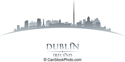Dublin Ireland city skyline silhouette white background -...