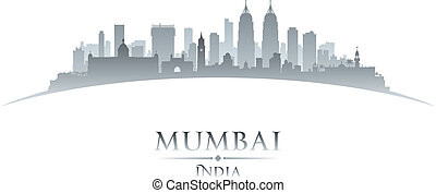 Mumbai India city skyline silhouette white background -...