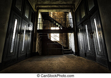 abandoned industrial building interior - old abandoned...