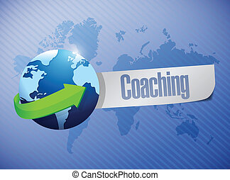 global coaching sign illustration design over a world map...