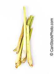 Lemongrass on isolated white background