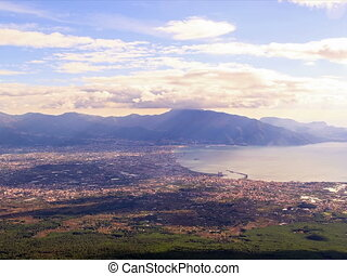 Pompei Valley, view from Mount Vesuvius. Italy. 4x3