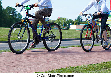 cyclists on the paved bike path