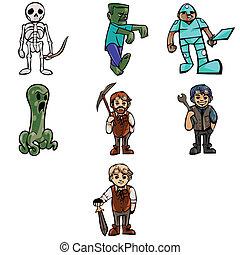Vector Fantasy Cartoon Characters - Simplified fantasy...