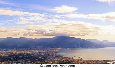 Pompei Valley, view from Mount Vesuvius Italy