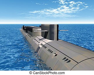 Russian Nuclear Submarine - Computer generated 3D...