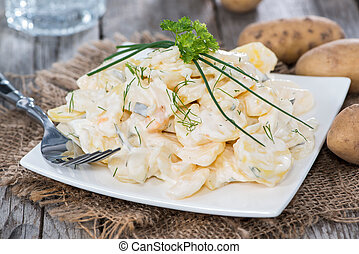 Potato Salad - Fresh made Potato Salad on vintage wooden...