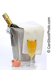 Happy new year - Champagne toast composition on bright...