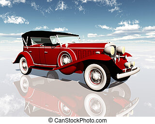 Classic Car - Computer generated 3D illustration with a...