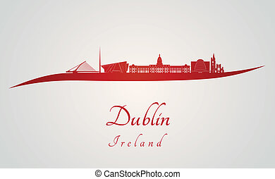 Dublin skyline in red