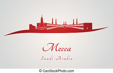 Mecca skyline in red and gray background in editable vector...