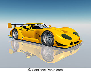 Sports Car - Computer generated 3D illustration with a...