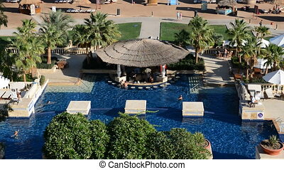 The swimming pool and bar at luxury hotel, Sharm el Sheikh,...