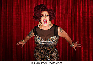 Drag Queen Screaming or Singing - Drag queen screaming or...