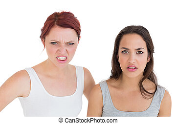 Close-up portrait of two angry young female friends over...