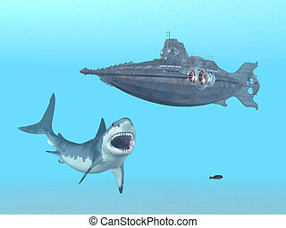 Great White Shark and Submarine - Computer generated 3D...