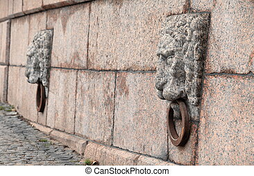 stone lion - Old stone lion on the quay St.Petersburg close...
