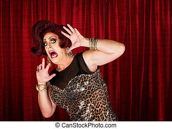 Frightened Man in Drag - Frightened man in drag queen in...