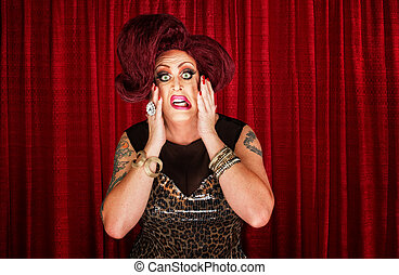 Uncertain Drag Queen - Uncertain drag queen with hands on...