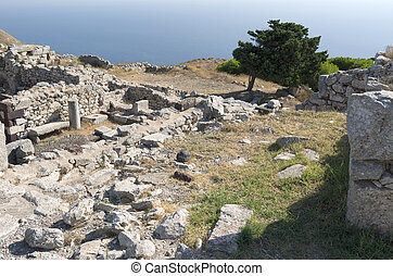 Ancient Thera on. - Ancient Thera on Santorini island in...