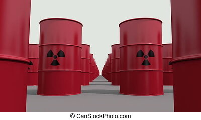 Toxic waste - Red barrels containing radioactive material...