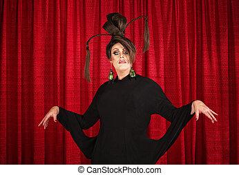 Eccentric Drag Queen - Drag queen in theater wearing unique...