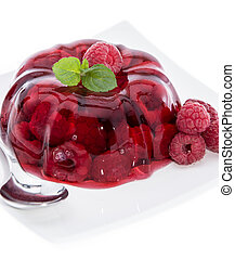 Raspberry Jello on white - Raspberry Jello isolated on white...