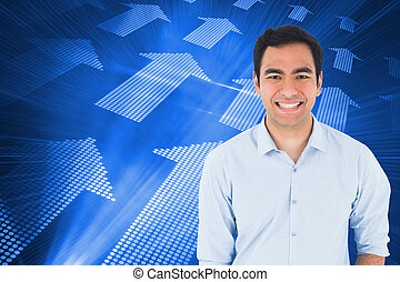 Composite image of smiling casual man standing