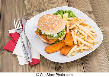 Fish Burger with Chips