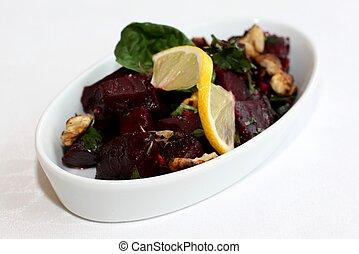Beetroot salad with lemon at restaurant
