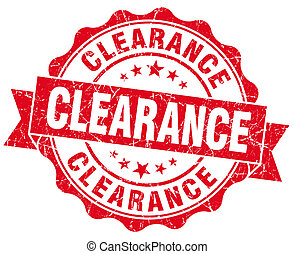 Clearance red vintage seal isolated on white