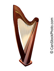 Harp on white - Harp isolated on white background. 10 EPS