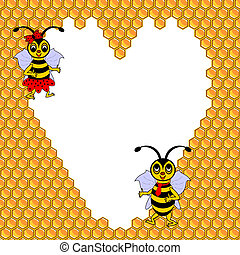 A couple of two funny cartoon bees with a heart surrounded by honeycombs. Valentines day postcard. Vector-art illustration