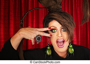 Laughing Drag Queen - Laughing Caucasian drag queen in...