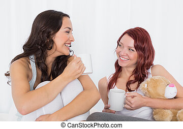 Cheerful female friends chatting ov - Cheerful young female...