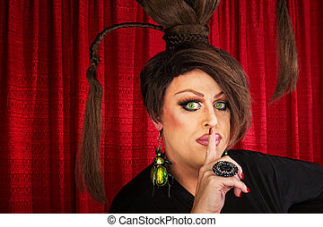 Man in Drag with Finger at Lips - Man in drag and funny...