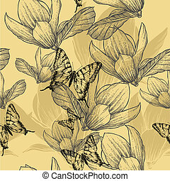 Seamless pattern with blossoming magnolias and butterflies, vector illustration.