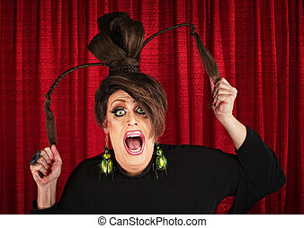 Screaming Drag Queen Pulling Hair - Desperate white drag...