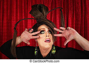 Eccentric Drag Queen Looking Up - Eccentric drag queen...