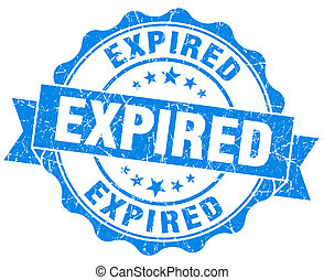 Expired blue vintage seal isolated on white
